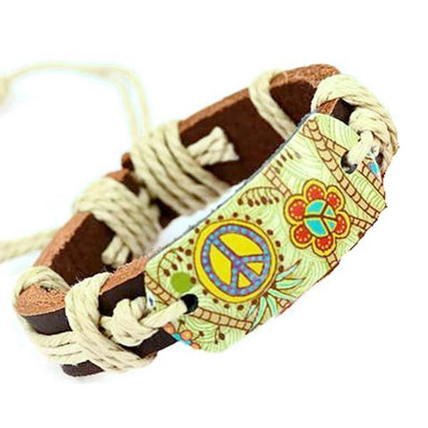 Leather Bracelets Festival Floral Flower Power Peace Bracelet Wear With Love
