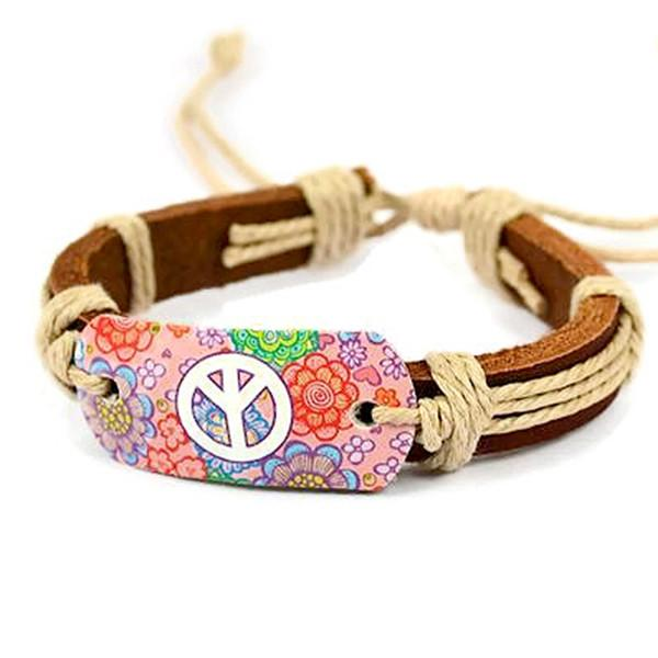 Leather Bracelets Festival Peace Floral Hippy Bracelet Wear With Love
