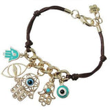 Leather Bracelets Hamsa Evil Eye Charm Bracelet Wear With Love
