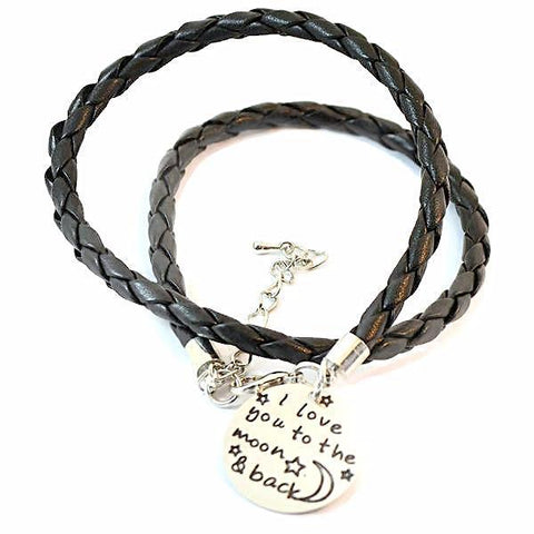 Leather Bracelets I Love You To The Moon And Back Charm Bracelet Wear With