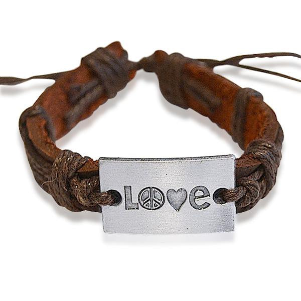 Leather Bracelets Love Stamped  Bracelet Wear With