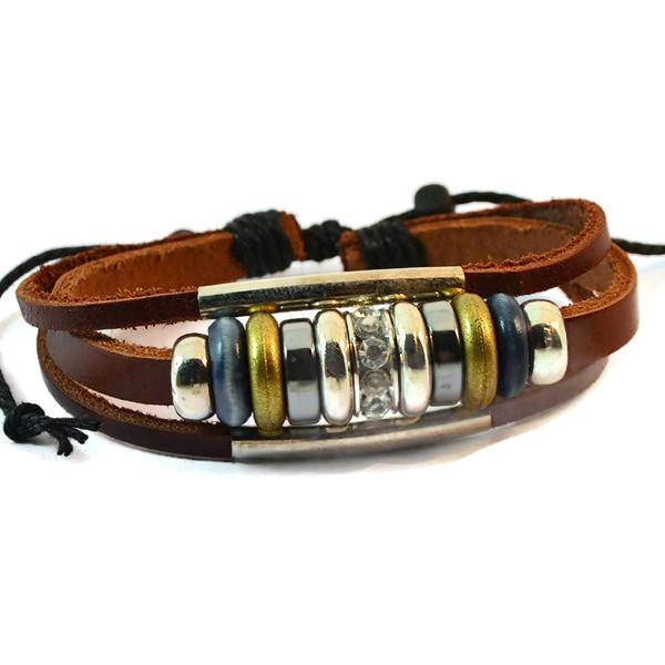 Leather Bracelets Tan Charm Bracelet Wear With Love