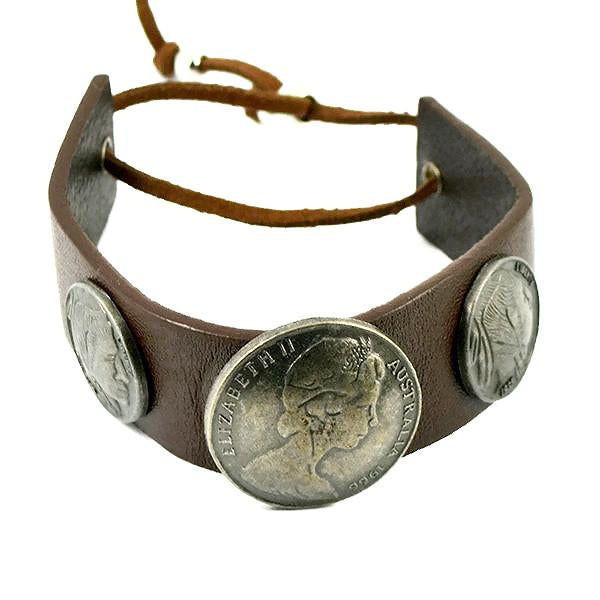 Leather Bracelets Tan Coin Bracelet Wear With Love