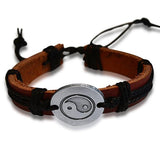 Leather Bracelets Unisex Tai Chi Ying Yang Charm Wear With Love