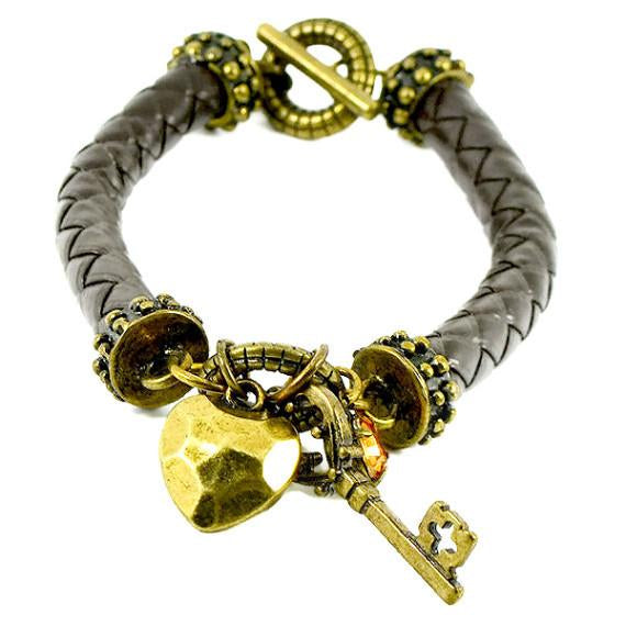 Leather Bracelets Woven Charm Bracelet Wear With Love