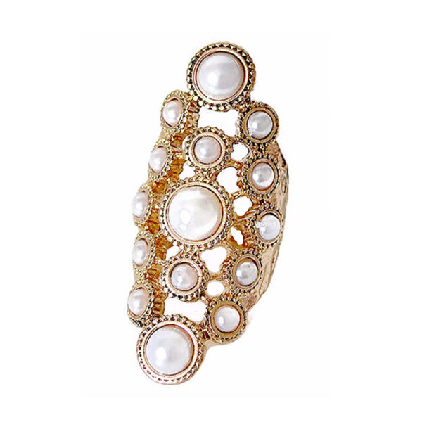 Gold Pearl Bezel Set Statement Ring