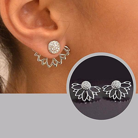 silver lotus leaf ear jacket studs