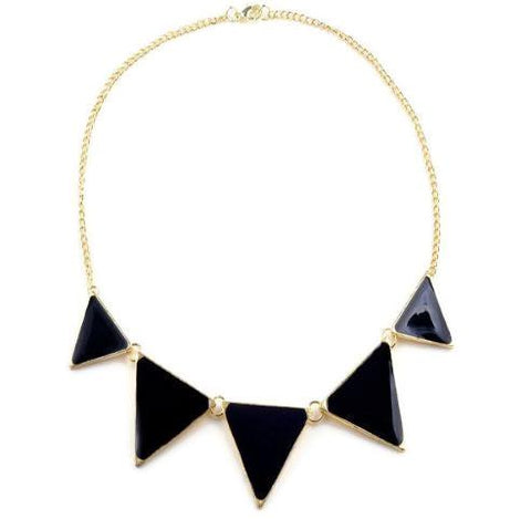 Modern Necklaces Black Enamel Triangular Link Necklace Wear With Love