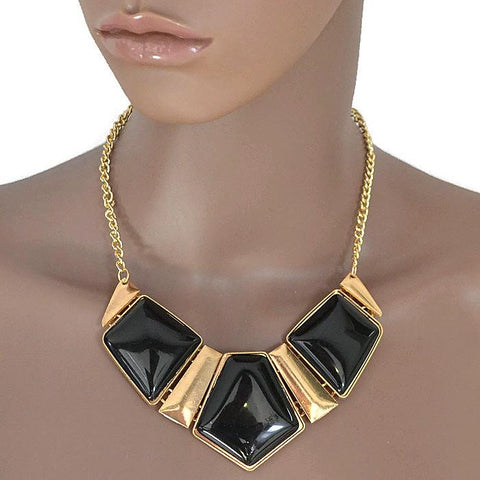 Modern Necklaces Black & Gold Geometric Panel Statement Necklace Wear With Love