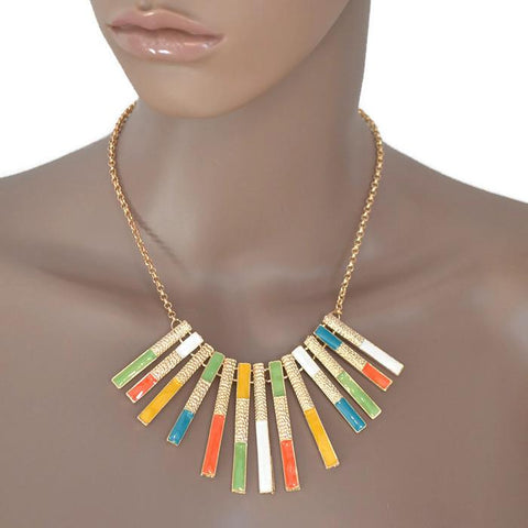 Modern Necklaces Long Gold Vertical Bar Fringe Necklace Wear With Love