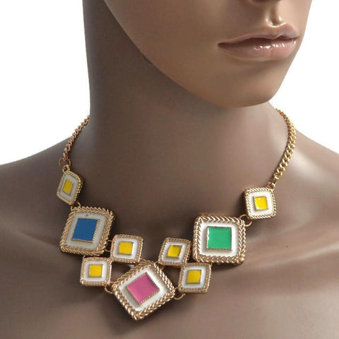 Modern Necklaces Retro Multi Square Necklace Wear With Love