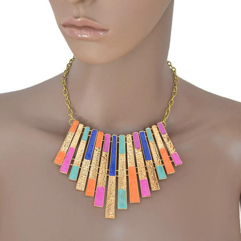 Modern Necklaces Vertical Colourful Aztec Fringe Necklace Wear With Love