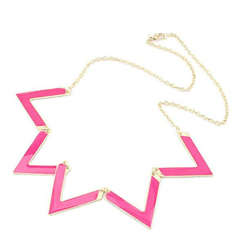 Modern Necklaces Vibrant Pink Zig Zag Necklace Wear With Love