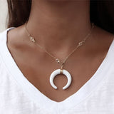 White Crescent Moon Charm Necklace
