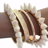 Multi Bangles Bijoux Gold High Polished Spike Wear With Love