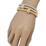 Multi Bangles Bijoux Three Tone Metal Charm Bracelets Wear With Love