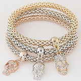 Multi Bangles Bijoux Three Tone Skull Bracelets Wear With Love
