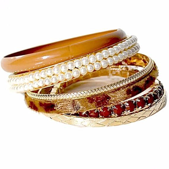 Multi Bangles Cream & Pearl Gold Bangle Selection Wear With Love