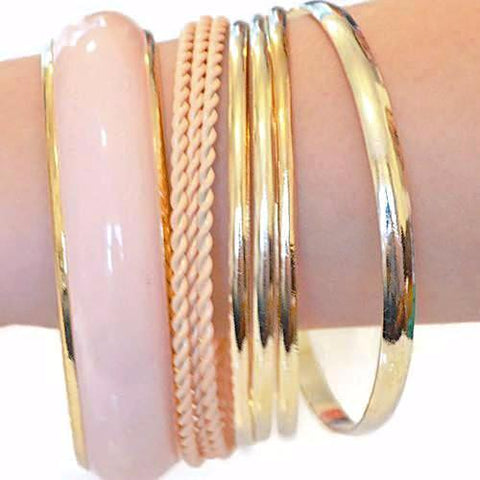 Multi Bangles High Gloss Sheen Mixed Gold Wear With Love