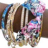 Multi Bangles Kitsch Ribbon & Coin Charm Wear With Love