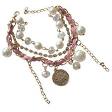 Multi Bangles Pastel Pink Diamante Charm Bracelet Wear With Love