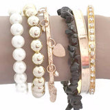 Multi Bangles Pearls & Heart Charm Bangle Set Wear With Love