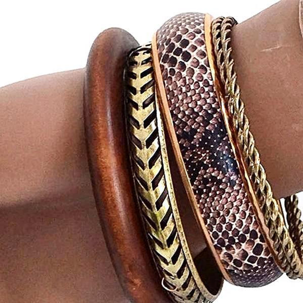 Multi Bangles Python Print & Walnut Alloy Wear With Love