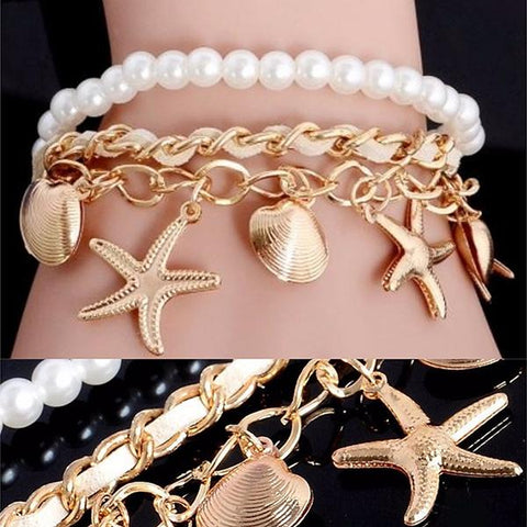 Multi Bangles Starfish Leather Gold And Pearl Charm Bracelet Wear With Love