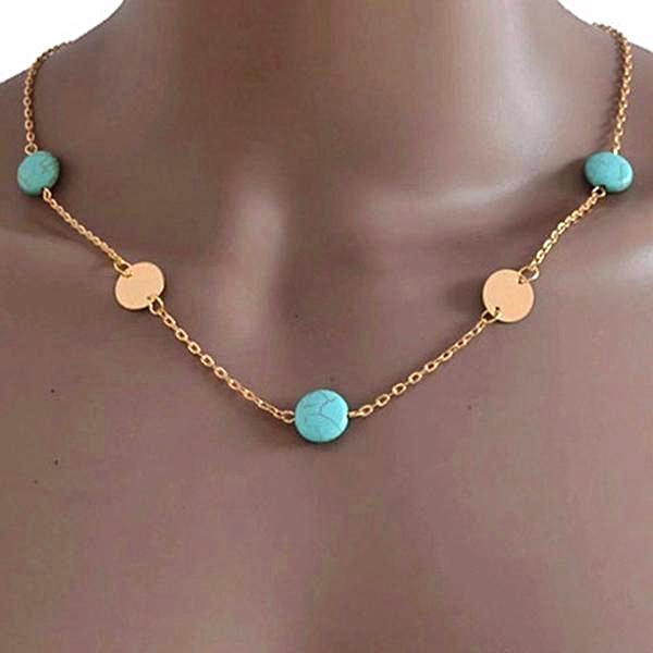 Turquoise Stone Beaded Gold Disc Necklace