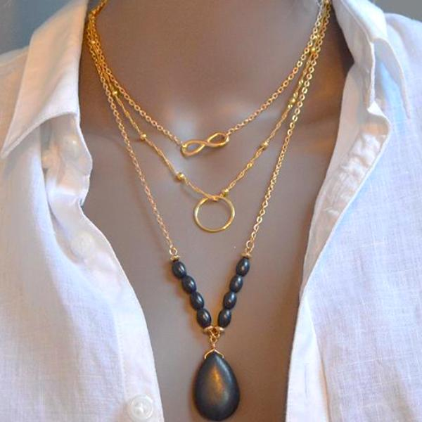 Black Natural Stone Oval Multi Chain Necklace