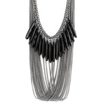 Necklace_Multichain Antique Silver Drape Multi Chain Necklace Wear With Love