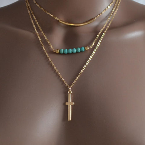Necklace_Multichain Beaded Cross Lariat Charm Multi Chain Necklace Wear With Love
