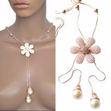 Necklace_Multichain Beautiful Rose Gold Daisy Long Sweater Pearl Necklace Wear With Love