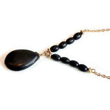 Necklace_Multichain Black Natural Stone Oval Multi Chain Necklace Wear With Love