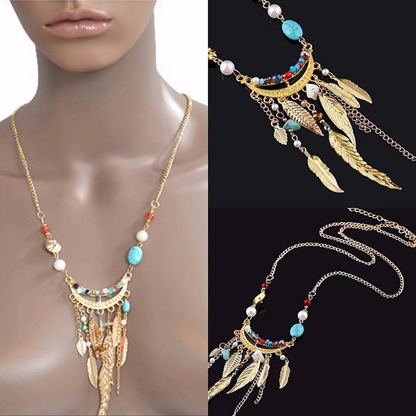 Necklace_Multichain Bohemian Feather And Beaded  Necklace Wear With Love
