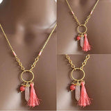 Necklace_Multichain Candy Pink Multi Charm Necklace Wear With Love