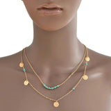 Necklace_Multichain Double Multi Chain Disc Palette Coin & Beaded Necklaces Wear With Love