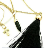 Necklace_Multichain Fabulous Black & Gold Multi Layer Charm Tassel Necklace Wear With Love
