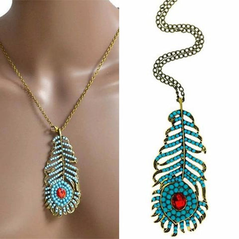 Necklace_Multichain Festival Jewelled Peacock Feather Pendant Necklace Wear With Love