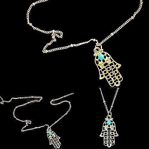 Necklace_Multichain Gold Hand Of Fatima Hamsa Necklace Wear With Love