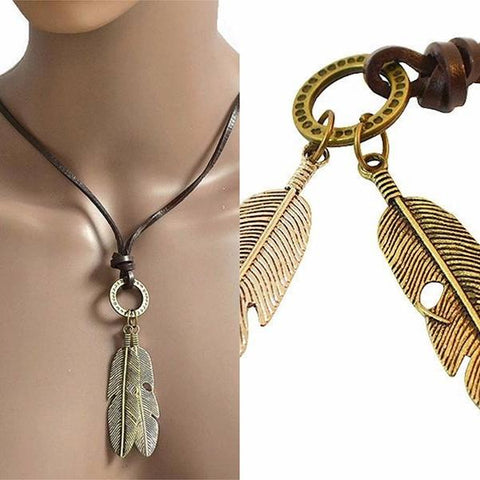Necklace_Multichain Handmade Unisex Leather Feather Pendant Necklace Wear With Love