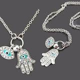 Necklace_Multichain Kabbalah Hand Of Fatima Hamsa Evil Eye Charm Necklace Wear With Love