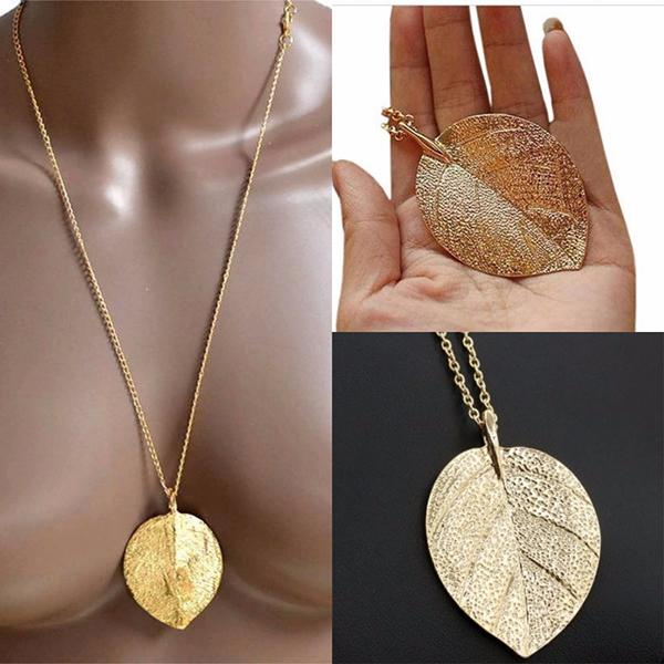 Necklace_Multichain Large Gold Leaf Pendant Necklace Wear With Love