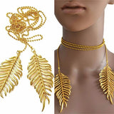 Necklace_Multichain Long Feather Metal Necklace Wear With Love