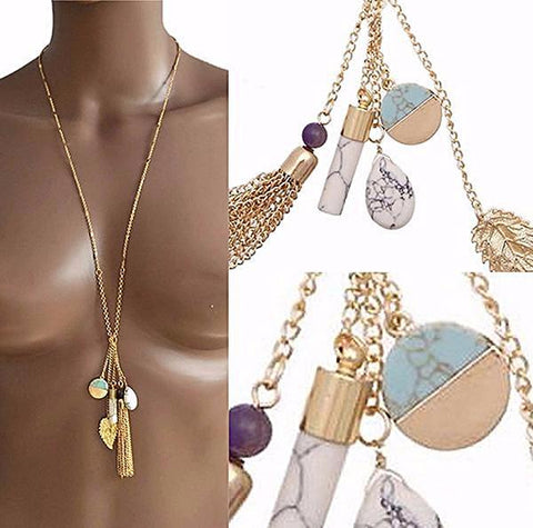 Necklace_Multichain Marble Multi Charm Tassel Chain Necklace Wear With Love