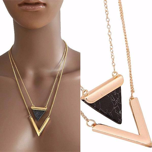 Necklace_Multichain Modern Geometric Multi Chain Necklace Wear With Love