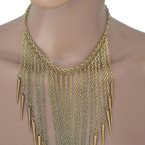 Necklace_Multichain Punk Long Spike Drape Necklace Wear With Love