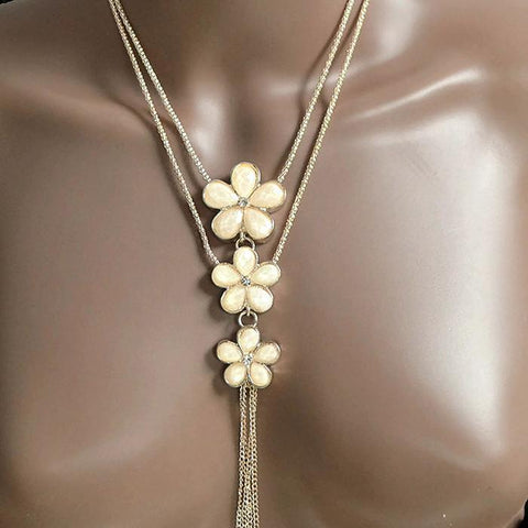 Necklace_Multichain Rose Gold Double Rope Sweater Daisy Necklace Wear With Love