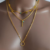 Necklace_Multichain Three Layer Gold Paillette Beaded Charm Necklace Wear With Love