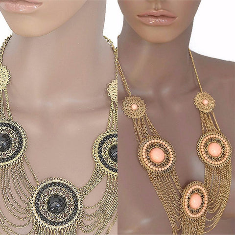 Necklace_Statement Bijoux Large Circular Drape Chain Necklace Wear With Love